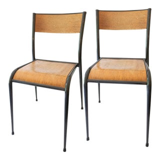 1930s French Jean Prouvé Style School Chairs - a Pair For Sale