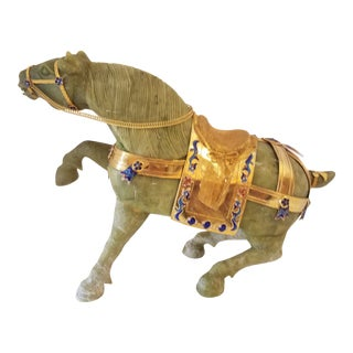 1980s Chinese Carved Soapstone Show Horse Sculpture For Sale