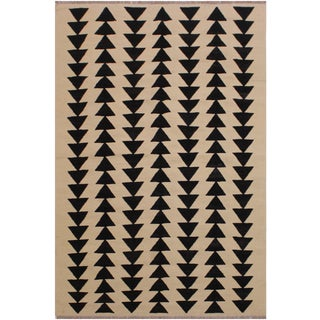 "Modern Bauhaus Style Kilim Sibley Hand-Woven Wool Rug -5'2"" X 6'8"" For Sale"