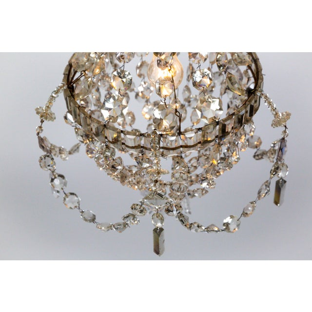 Early 20th Century Delicate Crystal & Wire French Regency Tent Chandelier For Sale - Image 5 of 13