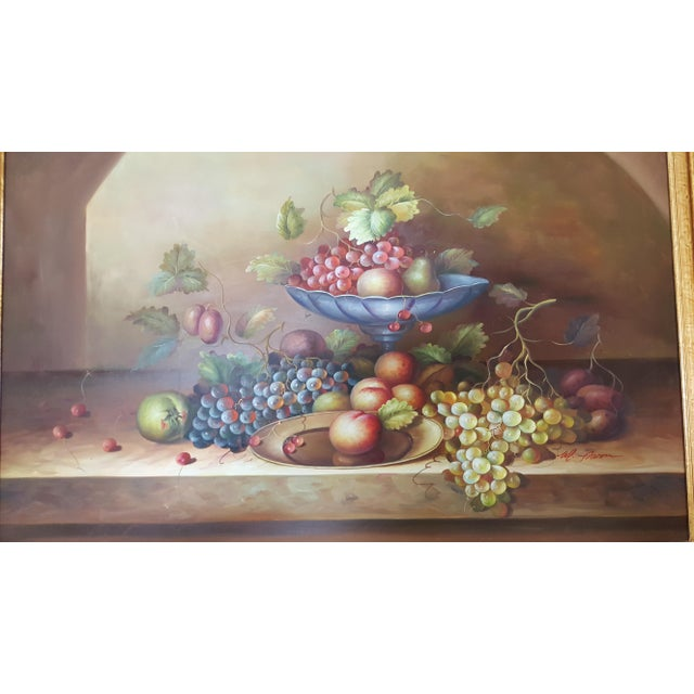 Large Still Life Oil Painting on Canvas Signed M. Aaron For Sale - Image 4 of 8
