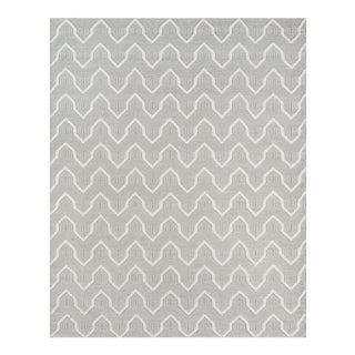 "Erin Gates by Momeni Langdon Prince Grey Hand Woven Wool Area Rug - 3'9"" X 5'9"" For Sale"