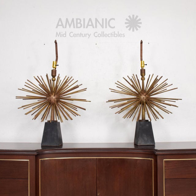 Pair of Mid-Century Mexican Modernist Pani Starburst Brass Table Lamps - Image 2 of 10