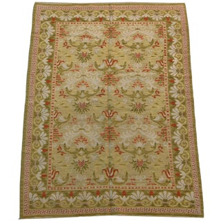 Mid-19th Century Portuguese Area Handmade Carpet - 5′11″ × 8′10″ For Sale
