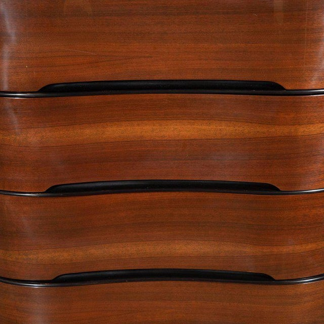 Art Deco Machine Age Bookmatched Mahogany & Black Lacquer Streamlined High Chest For Sale In New York - Image 6 of 13