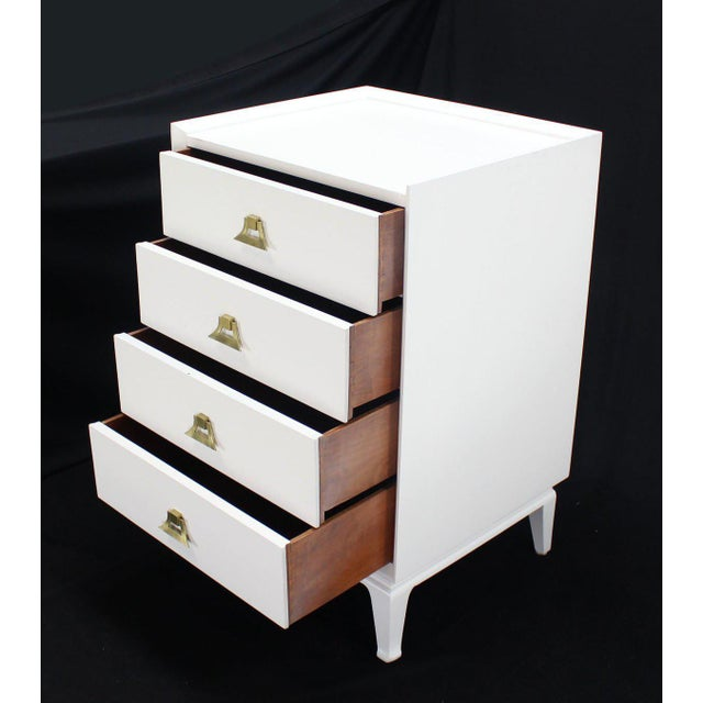 Mid-Century Modern White Lacquer Brass Pulls High Chest Stands - a Pair For Sale - Image 4 of 10