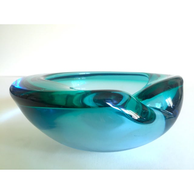 Mid 20th Century Vintage Mid Century Modern Rare Flavio Poli Seguso Vetri D' Arte Murano Art Glass Sommerso Bowl Ashtray For Sale - Image 5 of 13