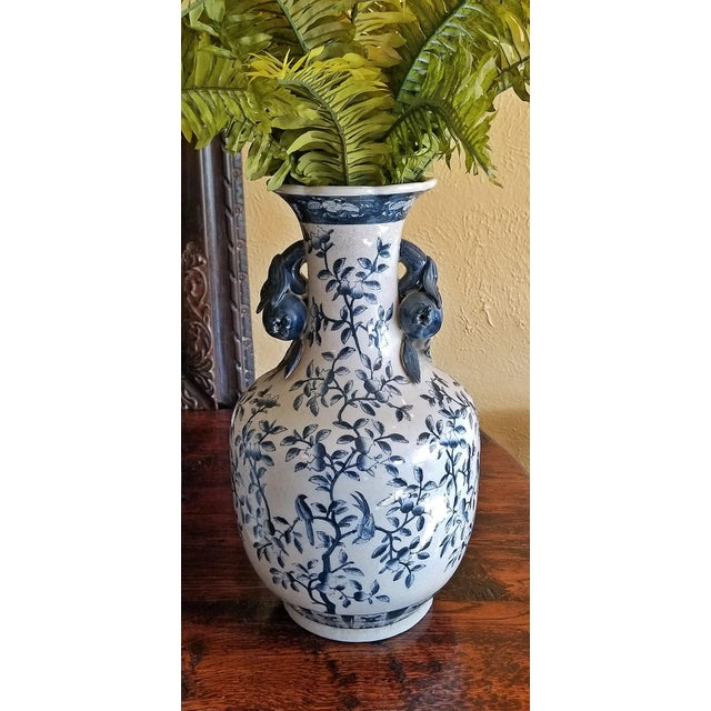 Nice pair of Large 19th Century Ironstone Blue and White Floor Vases…….made in Staffordshire, Britain in the Chinese...