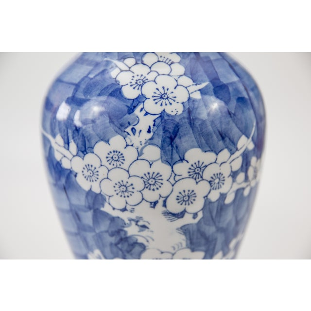 Asian Vintage Chinese Blue and White Cherry Blossom Vase For Sale - Image 3 of 6
