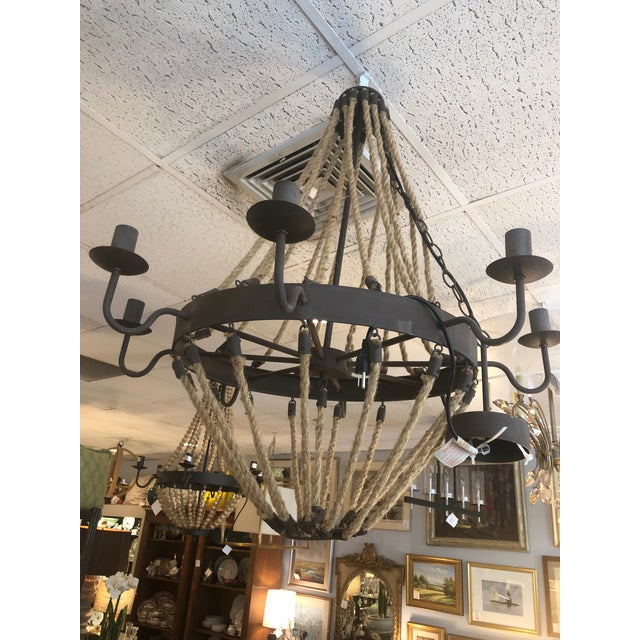 Farmhouse 8 Arm Iron and Rope Chandelier For Sale - Image 3 of 8