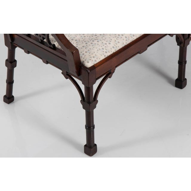 Linen English Chinese Chippendale Mahogany Settee For Sale - Image 7 of 9