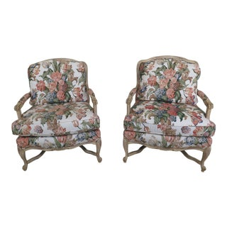 Wesley Hall Floral Upholstered Decorator Bergere Chairs - a Pair For Sale