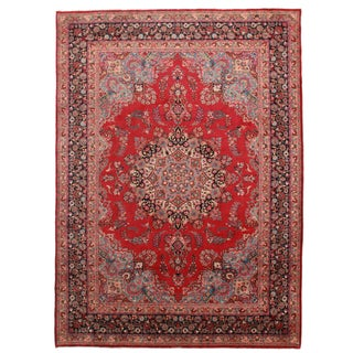 Hand-Knotted Wool Persian Mashad - 8′ × 11′ For Sale