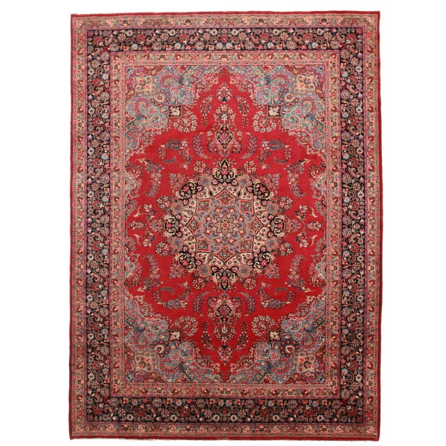 Hand-Knotted Wool Persian Mashad - 8′ × 11′ - Image 1 of 2