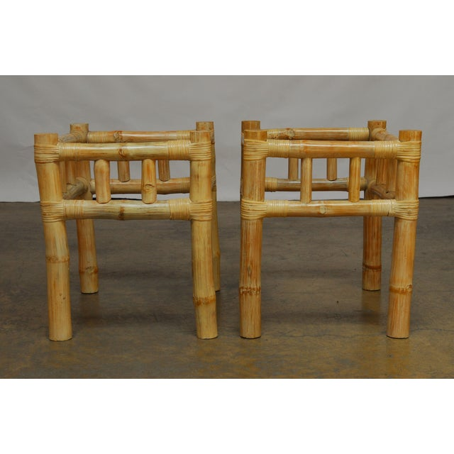 Thick, natural bamboo stalks form an open frame for these organic tables supported by larger round bamboo legs....