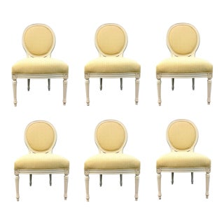 Pearson Co. Transitional Gold and White Dining Chairs Set of Six For Sale