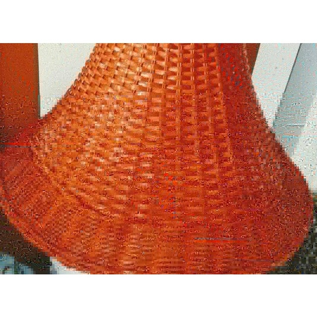 Asian A Pair Vintage Floral Gloss White Large Pagoda Table Lamps W/Bright Orange Wicker Shades For Sale - Image 3 of 10