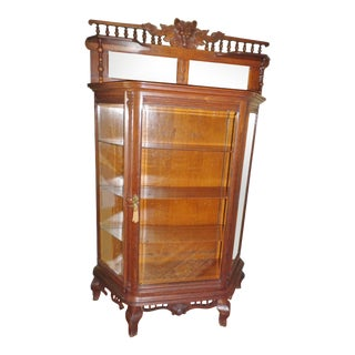 Late 20th Century Antique Victorian Lion Head Display Cabinet For Sale