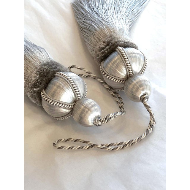 """2020s Pair of Silver Key Tassels With Cut Ruche - 5.75"""" For Sale - Image 5 of 11"""