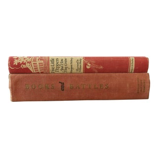Vintage Decorative Books With Red Covers — a Pair For Sale