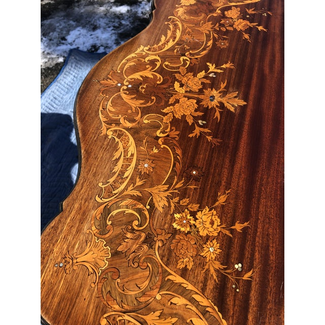 1940s Louis XV Style Mahogany and Satinwood Marquetry Inlaid Center Table For Sale - Image 5 of 13