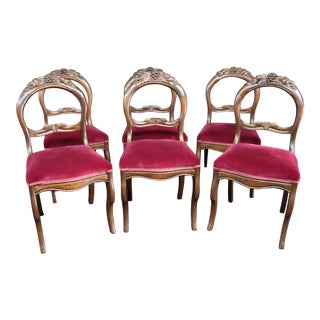 Set/6 Victorian Walnut Dining Chairs For Sale