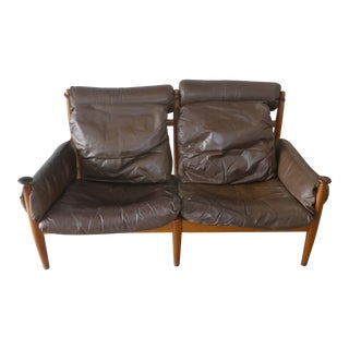 Mid Century Modern Danish Modern Leather Loveseat For Sale