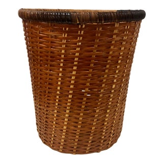 Vintage Mid Century Rattan Wicker Bentwood Tri Color Waste Basket, 1960s For Sale