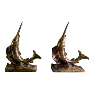 Vintage Mid-Century Brass Swordfish Fish Bookends - a Pair For Sale