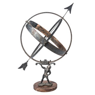 French Early 20th C. Large Iron Armillary Globe Sphere on Wood Base. For Sale
