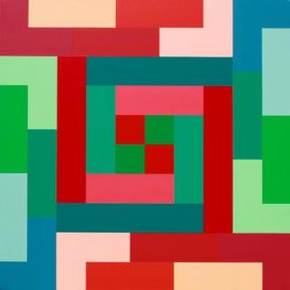 """Dynamic Vitality"" Contemporary Geometric Hard Edge Acrylic Painting by Sassoon Kosian For Sale"