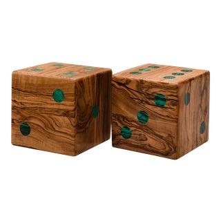 Medium Olive Wood and Malachite Dice - Pair by Marcela Cure For Sale