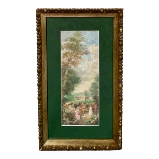 Vintage Victorian Garden Watercolor Figures Dogs Signed Richard Gabriel Chase For Sale