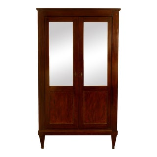 Continental Walnut Armoire with Mirrored Doors For Sale