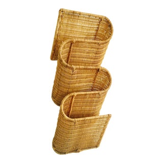 Vintage Curvy Wicker Wall Magazine Rack For Sale