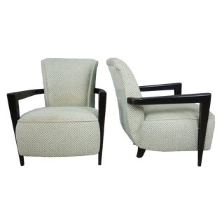 Vintage Mid Century Rosello Modern French Upholstered Slipper Arm Chairs- A Pair For Sale