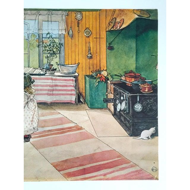 "Arts & Crafts Carl Larsson Vintage 1972 Original Swedish Lithograph Print Poster "" Koket the Kitchen "" 1898 For Sale - Image 3 of 12"