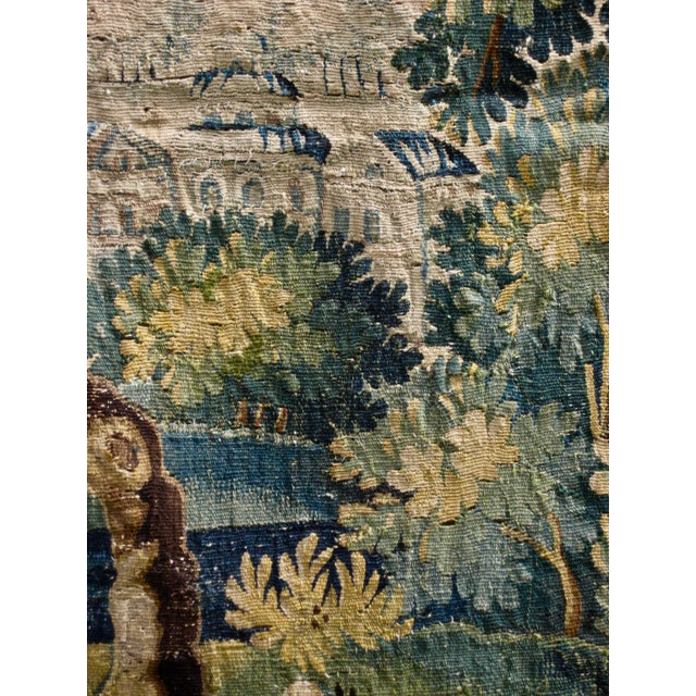 Green 18th Century Flemish Verdure Tapestry Wall Hanging For Sale - Image 8 of 13