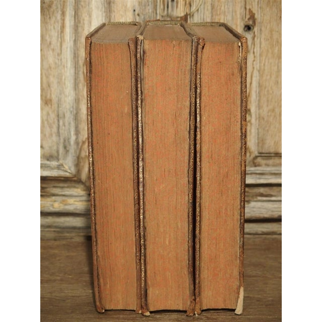 Set of 18th Century French Leather Bound Books, Les Vies Des Saints, 1715 For Sale - Image 4 of 13
