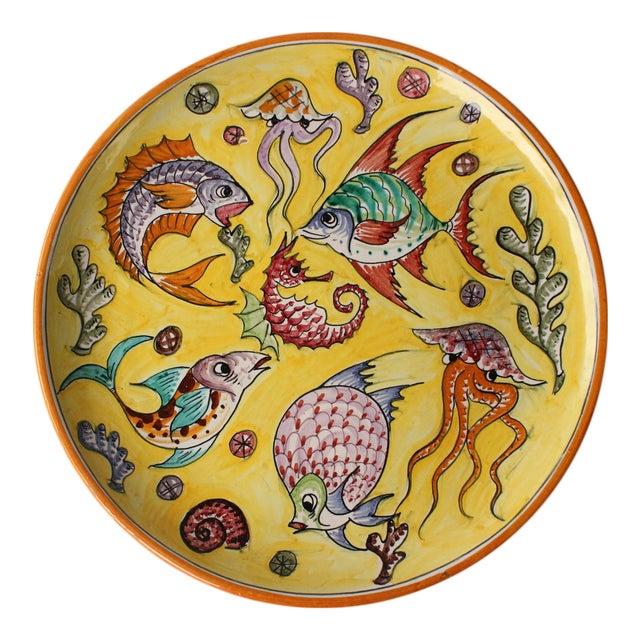 Pesce Colorato Italian Pottery Platter For Sale