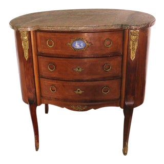 19th Century Traditional Marble Top Three Drawer Nightstand For Sale
