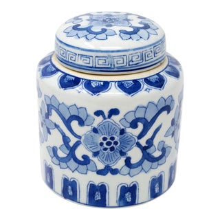 Hand-Painted Blue and White Porcelain Chinese Jar