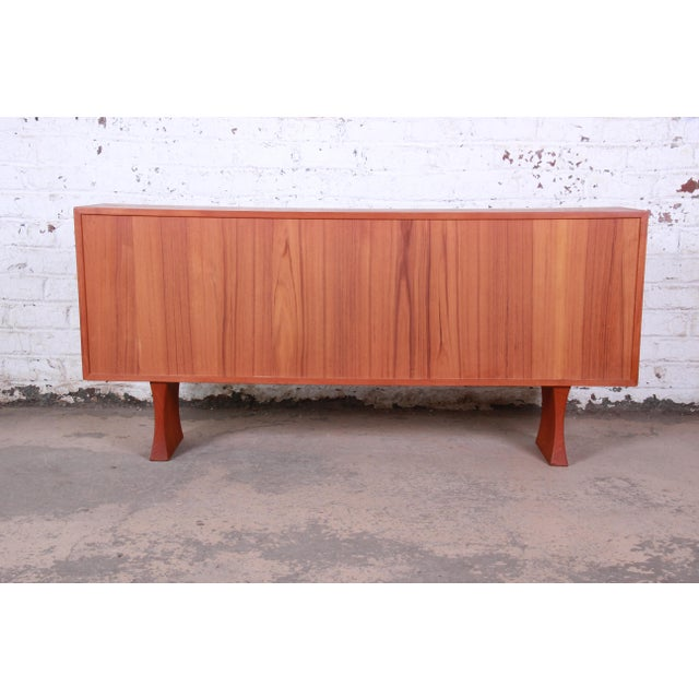 Danish Modern Teak Glass Front Credenza or Bookcase For Sale - Image 11 of 12
