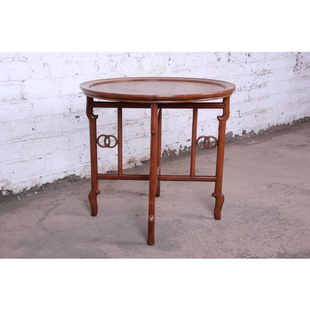 Michael Taylor for Baker Far East Collection Walnut and Burl Wood Occasional Table For Sale In South Bend - Image 6 of 11