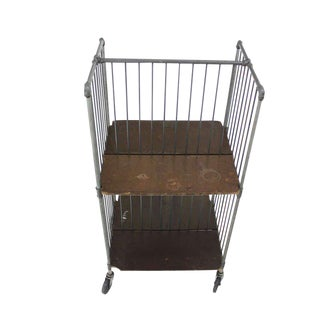 Heavy Industrial Mid-Century Modern Cart Rack with Storage Shelves For Sale