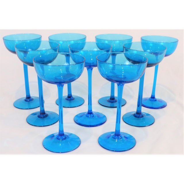 1960's Italian Blue Champagne Coupes - Set of 9 For Sale - Image 4 of 9