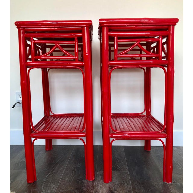 Serena & Lily Serena and Lily Red Lacquered Side Tables - a Pair For Sale - Image 4 of 9