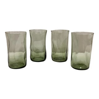 Finger Pinched Water Glass Tumblers in Green - Set of 4 For Sale