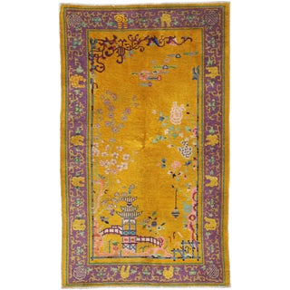 Early 20th Century Antique Chinese Peking Rug - 4′1″ × 6′8″ For Sale