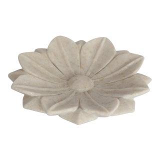 1960s Vintage Marble Lotus Leaf Tray For Sale